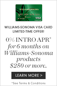 0% Intro APR* for 6 months on Williams-Sonoma products $250 or more. Learn More>