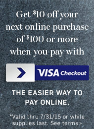 Visa Checkout Learn More -Get $10 off your next online purchase*>