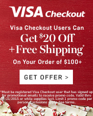 Visa Checkout Users Can Get $20 off + Free Shipping>