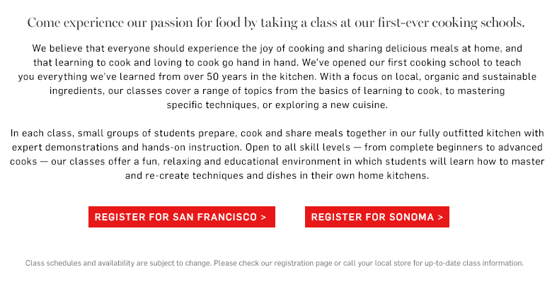 Cooking schools Sonoma & SF