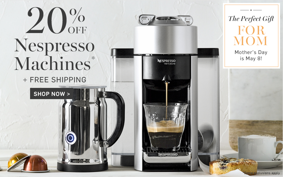 20% off Nespresso Machines* + Free Shipping