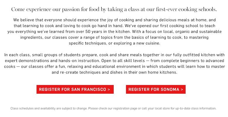 Cooking schools Sonoma & SF