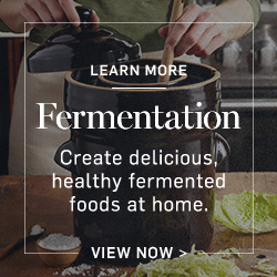 Fermenation: Create delicious, healthy fermented foods at home. Learn More >