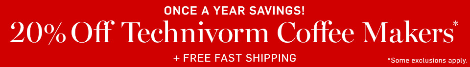 20% Off Technivorm Coffee Makers* + Free Fast Shipping