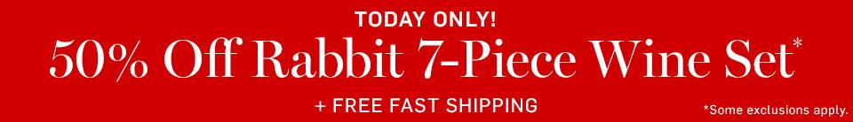 50% Off Rabbit 7-Piece Wine Set + Free Fast Shipping