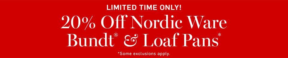 Limited Time Only! 20% Off Nordic Ware Bundt® Pans & Loaf Pans