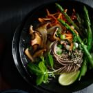 Sesame Soba with Asparagus and Mushrooms