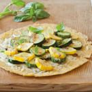 Soft Socca with Summer Squash, Basil and Gruyere