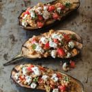 Grilled Eggplant Stuffed with Bulgur, Feta and Pine Nuts