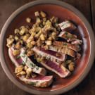 Sliced Tuna with Eggplant Salad and Oregano Oil