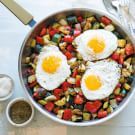 Vegetable and Thyme Hash with Fried Eggs