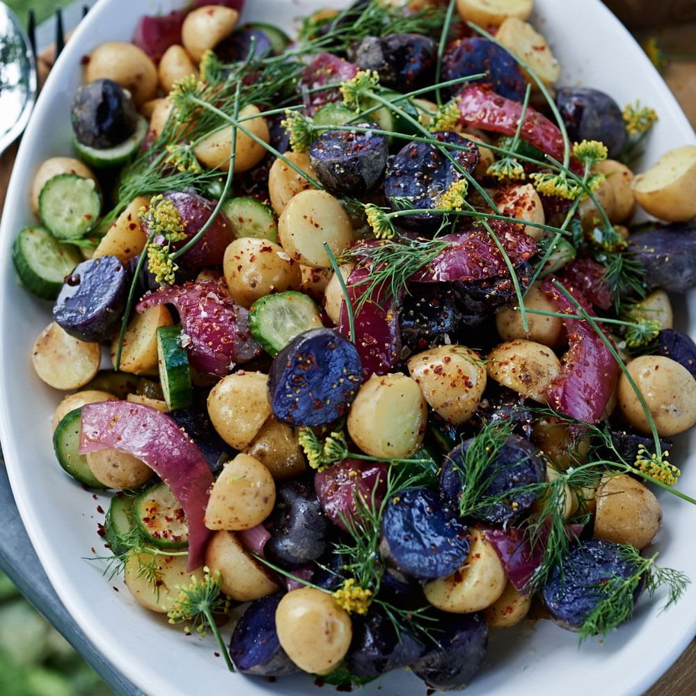 Baby Potatoes with Pickled Onions, Cucumbers and Sumac Img5l