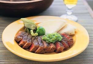 Grilled Steak with Avocado-Tomatillo Salsa and Tortillas