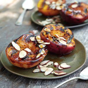 Maple-Glazed Peaches with Toasted Almonds   Williams Sonoma