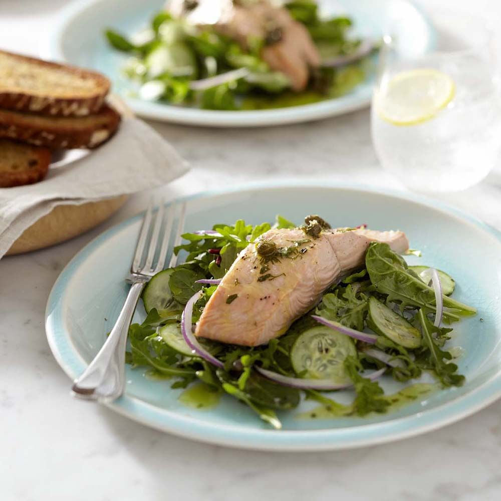 Poached Salmon over Greens with Caper Vinaigrette ...