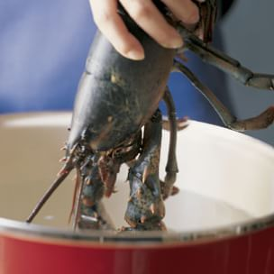 Halving and Cleaning Lobster