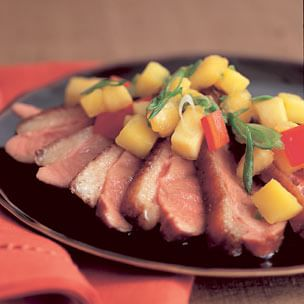 Duck Breast with Peach and Mango Salsa