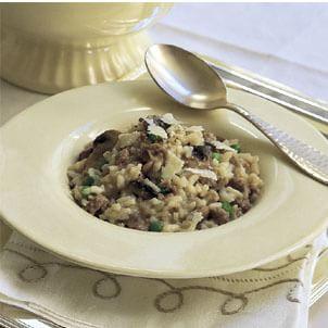 Risotto with Mushrooms, Peas and Sausage (Risotto ai Funghi, Piselli e Salsiccia)