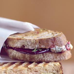 Roasted Beet, Gorgonzola and Walnut Bread Panini