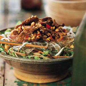 Lemongrass Beef and Onions over Rice Vermicelli (Bun Bo)