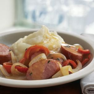 Ale-Braised Sausages with Bell Peppers