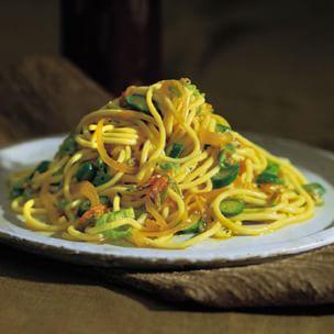 Spaghetti with Zucchini Blossoms and Saffron