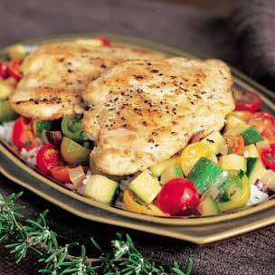 Chicken Breasts with Cherry Tomatoes, Zucchini and Olives