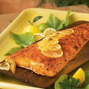 Cedar-Planked Salmon with Seasoned Lemon Butter