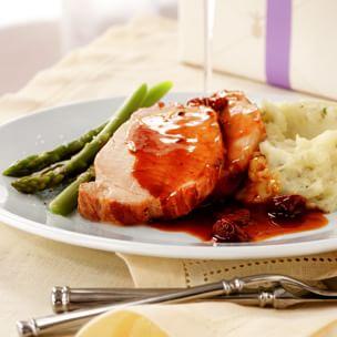 Roasted Pork Loin with Tart Cherry-Port Sauce