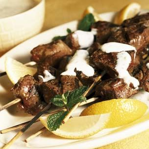 Grilled Lamb Kabobs with Mint-Yogurt Sauce