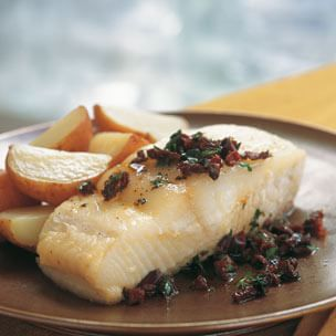 Oil-Poached Halibut with Olives