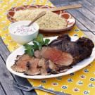Grilled Leg of Lamb with Mint Raita