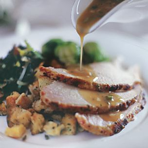 Butterflied Turkey with Herb Glaze and Chardonnay Gravy