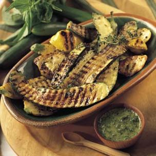 Grilled Summer Squash with Green Sauce