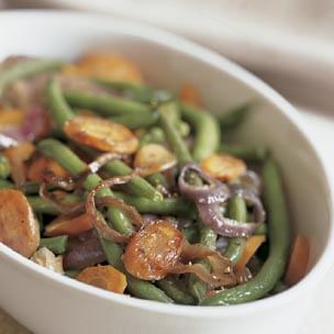 Roasted Green Beans and Carrots with Red Onion