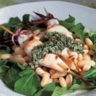Grilled Calamari on a Bed of White Beans