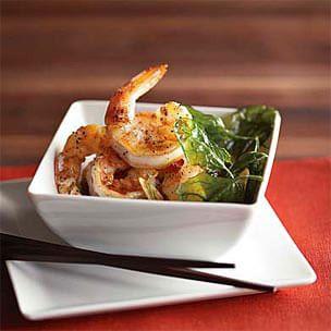 Salt & Pepper Shrimp with Fried Spinach