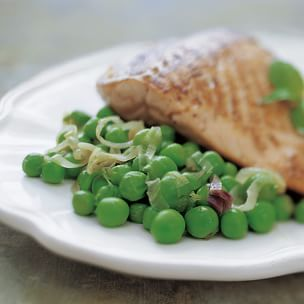 Quick Braise of Spring Peas with Red Onion Shoots