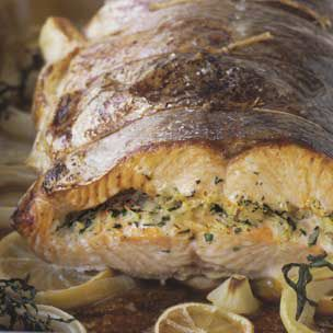 Salmon with Leek and Rice Stuffing