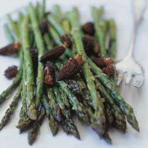 Roasted Asparagus and Morels with Shallot Butter