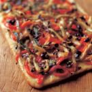 Flatbread with Eggplant, Peppers and Olives