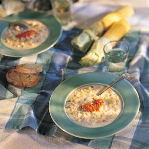 Corn Chowder with Red Pepper Cream