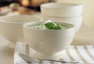 Fresh Pea Soup with Chive Blossom Cream