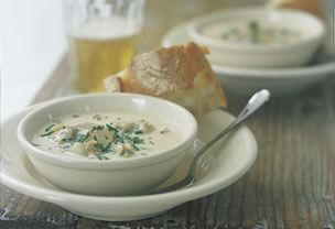 New England Clam Chowder with Leeks and Bacon