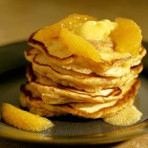 Sweet Potato Pancakes with Orange-Honey Butter