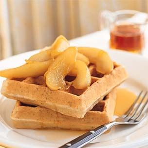 Pecan Waffles with Maple-Pear Sauce