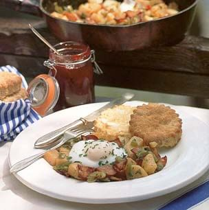 Canadian Bacon Hash with Poached Eggs