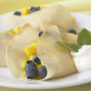 Blueberry-Mango Crepes
