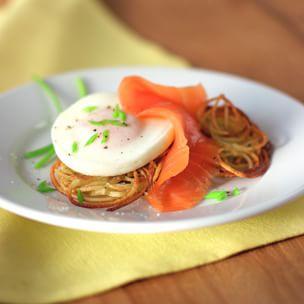 Potato Pancakes with Poached Eggs & Smoked Salmon