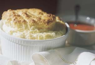 Cheese Soufflé with Tomato-Basil Sauce